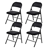 Beliwin Folding Chairs Black Padded, Faux Leather and Strong Iron Pipe, for Home Office Dinning-Set of 4