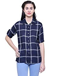 Fashion Village Dark Blue Checkered Shirt for Womens/Girls