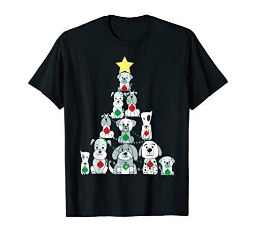 Weihnachtstag-Hund, lustiger netter Weihnachtsbaum T-Shirt