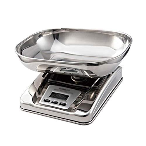 Panduo Báscula electrónica de cocina de acero inoxidable, báscula digital para alimentos horneados, básculas electrónicas, antideslizantes, alta precisión (tamaño : 15,3 x 20,5 x 5,2 + 5 cm)