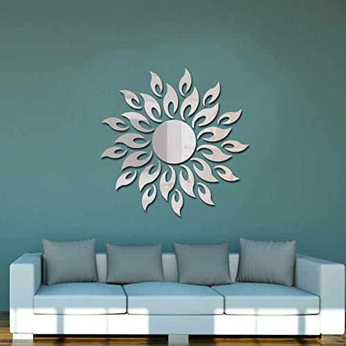 Pegatina de pared con diseño de girasol, autoadhesiva 3D espejo redondo de plástico para pared azulejo de bricolaje, decoración de hogar pared de espejo con combinación de rompecabezas (plata)