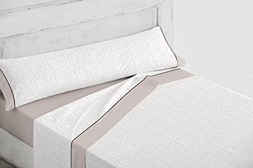 BOHEME Juego de sábanas 3 Piezas Lienzo Beig Cama 150 cm