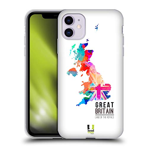 Head Case Designs Tierra De La Realeza Gran Bretaña Mapas en Acuarela Carcasa de Gel de Silicona Compatible con Apple iPhone 11