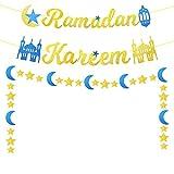 Ramadan Kareem Banner Gold Glitter Ramadan Kareem Decorations for Home, Eid Ramadan Mubarak Festival Party Decoration, Ramadan Banner Moon Star Lantern Garland Mantle Fireplace (Pre-Assembled)