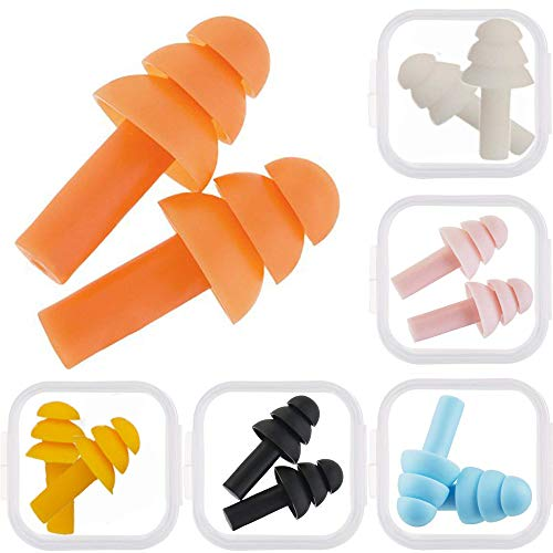 6 Pack Silicone Earplugs Soft Ear Plugs Float Flexible Earplugs for Swimming, Will Reduce Noise When Sleeping, Made of Soft Silicone Comfortable