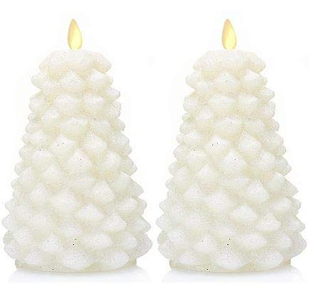 Luminara Flameless Candle Set of 2, Christmas Trees, 4' x 4' x 6.5', White with All Over Glitter Finish, Realistic Moving Flame Effect, Remote Included