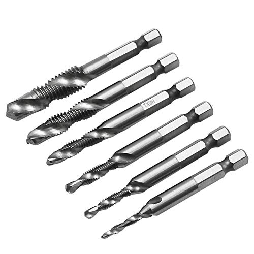 Oyov2L 6Pcs Drill Bits Taps M3-M10 Metric High Speed Steel Drill Bits Composite Taps for Screw Machine Home Tool Supplies Use 1#