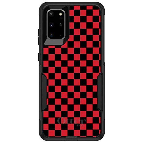 DistinctInk Case for Galaxy S20 Ultra & S20 Ultra 5G (6.9' Screen) - Custom Black OtterBox Commuter - Red Black Checkered Flag Geometric - Geometric Checkered Pattern