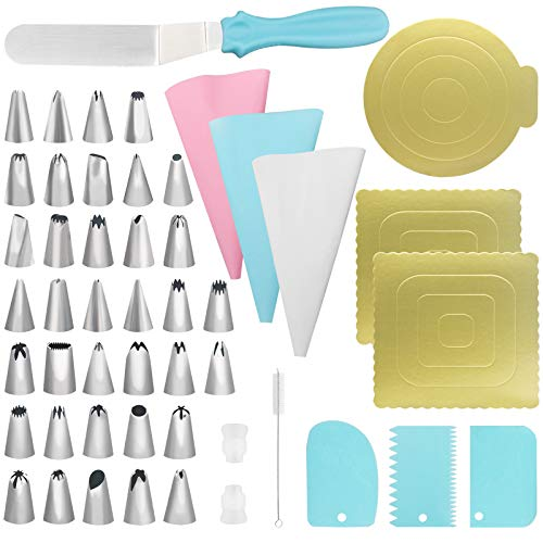 49-Piece Cake Decorating kits-Cake Baking Tools with Stainless Steel Icing Tips, Silicone Squeeze Bag, Icing Spatula, Plastic Scrapers, Couplers, Cake Base, Cleaning Brush to Decorate Cakes and Pastry