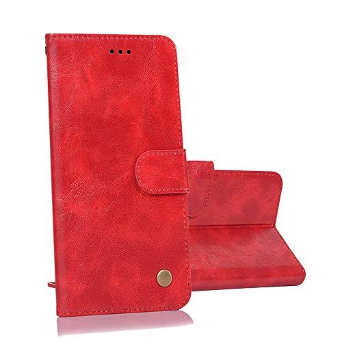 yueer für Alcatel One Touch Flash 2 Hülle Schutzhülle,mit [TPU Bumper] [Wallet Stand] für Alcatel One Touch Flash 2 Handyhülle rot
