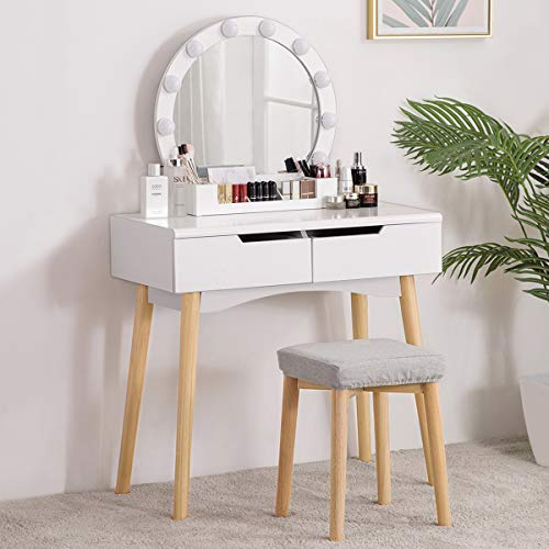 YOUDENOVA Vanity Table Set with Lighted Round Mirror, Makeup Dressing Table with Dimmer LED Bulbs, 2 Sliding Drawers & Brush Holder Organizer, Women Vanity Stool Set for Bedroom, White