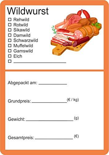 Etiketten zur Kennzeichnung von Wildfleisch verschiedene Motive 6 x 9 cm (25, Wurst Vektor)
