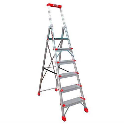 Faraone - Escalera de Aluminio EN946-6 peldaños - Escalera de Tijera Profesional - 211x51x15 cm - Con Bandeja Portaobjetos y Barandilla - Peso soportado de hasta 150 kg