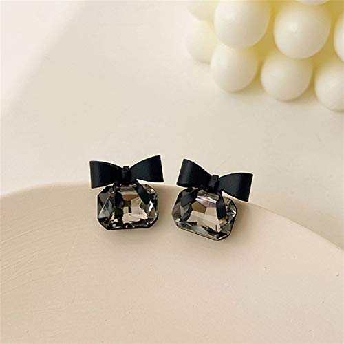 Cube Crystal Earrings Black Bow Ladies Beautiful Gifts Fashion Jewelry Square Bow Earrings (Color : 697 1)