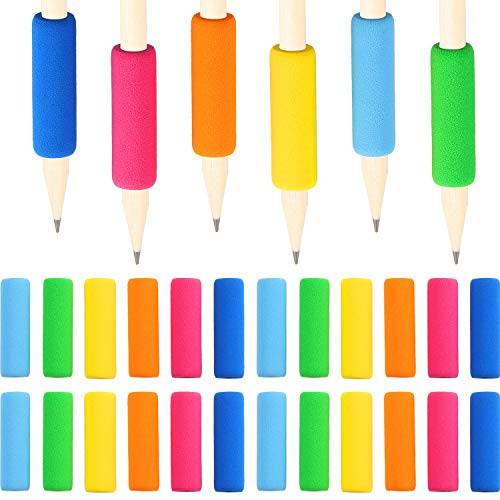 120 Pieces Soft Foam Pencil Writing Aid Grips Comfort Writing Posture Correction Tool Pen Holder Grip for Preschoolers (6 Colors)