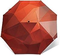 レッドアブストラクトブロックトラベル傘軽量コンパクトポータブル防風UVプロテクションサン&レインオートオープン&クローズ折りたたみ式自動傘女性用メンズキッズ用