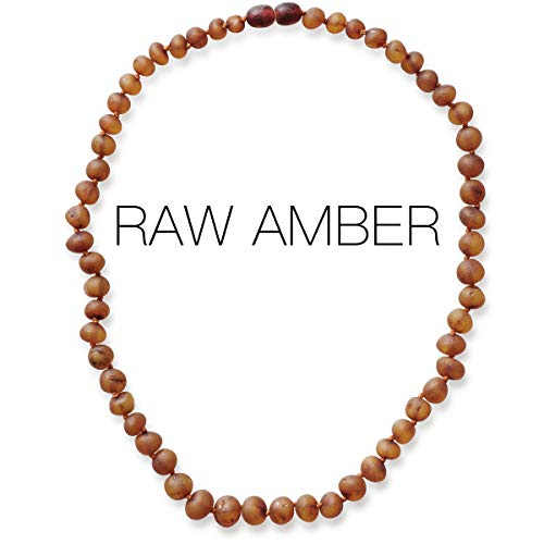 Meraki Baltic Amber Necklace - Raw Unpolished Baroque Baltic Amber Necklace | Certified Genuine Baltic Amber Necklace | Cognac Color (12.5 Inches)