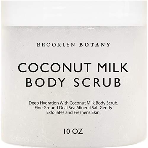 Brooklyn Botany Coconut Milk Body Scrub 10 oz - Made With Dead Sea Salt and Essential Oils - Anti Cellulite, Stretch Marks, and Varicose Veins - 10 oz