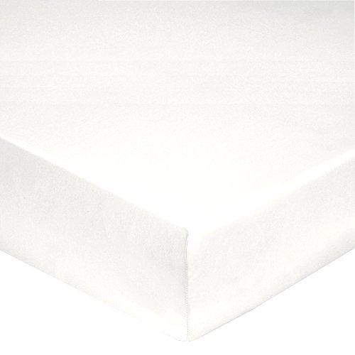 Blanc des Vosges Uni 57 fils Drap housse Coton Blanc 120 x 190 cm bonnet de 27 cm