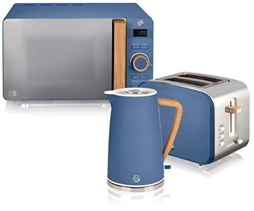Swan Nordic Set Desayuno Hervidor de agua 1,7L 2200W, Tostadora Pan ranura ancha 2 rebanadas, Microondas 20L digital, diseño moderno, efecto madera, azul mate