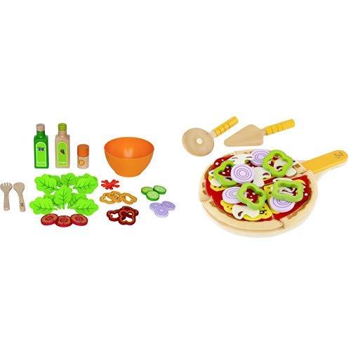Hape E3116 Gartensalat-Set 36-teilig &  E3129 - Pizza Set