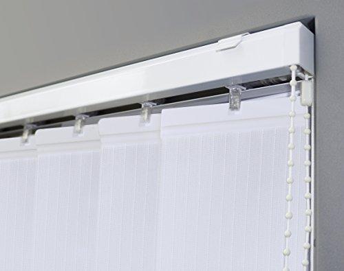 JalousieCrew Vertikal Lamellenvorhang Farbe weiß - Breite 100 bis 250 cm - Höhe 250 cm (individuell kürzbar) Lamellenbreite 89mm (250 x 250 cm)