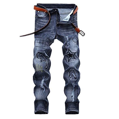 Uiophjkl heren casual jeans voor mannen onrustige, gescheurde biker motor-washed denim broek tapered legg slimfit ritsbroek
