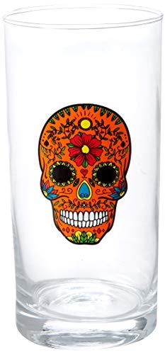 Circleware Halloween Sugar Skull Hiball Cooler Set of 4 Heavy Drinking Glass Tumbler Cups for Water, Juice, Milk, Beer, Whiskey, Vodka, Farmhouse Decor, 14.5 oz, Black, White, Purple, Orange
