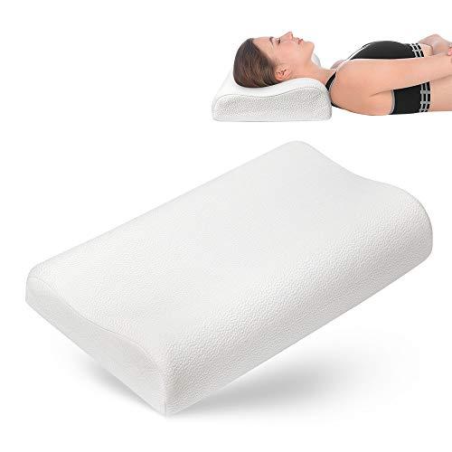 Geweo Memory Foam Kopfkissen, Nackenstützkissen für Seiten- und Rückenschläfer, Schlafkissen mit Bambusfaser Bezug, Ergonomisches Nackenkissen für HWS