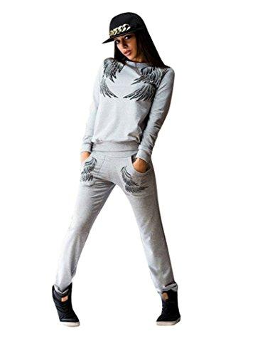 Baymate Damen Flügel Muster Drucken Trainingsanzug Sweatshirt Tops + Hosen 2pcs Set Grau M