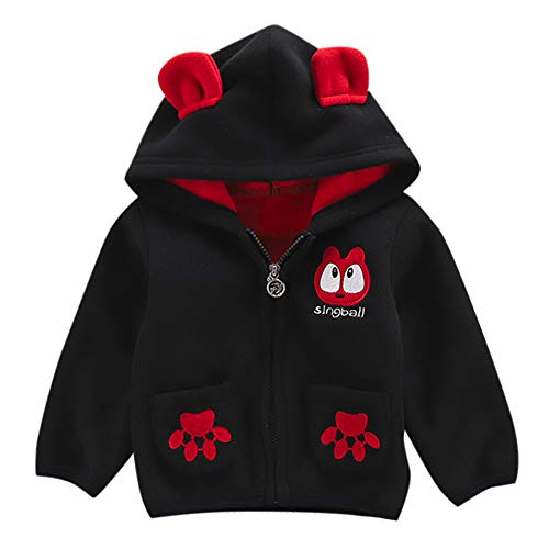 Winterjacke,Transwen Kleinkind Baby Boy Girl Cartoon Langarm Hoodie Fleece Winter warme Kleidung Warme Mantel bergangsjacke Steppjacke Outdoorjacke (110, Schwarz)