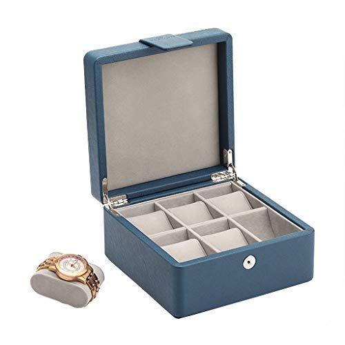 6 Las ranuras reloj caja de cuero, Botón elegante caja de reloj de resorte con extraíble suave almohadas, reloj de la exhibición con forro de terciopelo Hombres Mujeres Colección cajas de reloj XYXG
