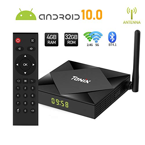 Android 10.0 TV Box, TUREWELL TX6s 4GB RAM 32GB ROM Allwinner H616 64-bit Quad core Chip Support 2.4/5GHz Dual WiFi BT4.1 Ethernet 3D 4K H.265 HDMI 2.1 Antenna Smart TV Box, Support Voice Remote