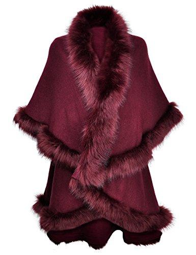 ZLYC Damen Winter Faux Fur Poncho Warm Strick Kunstpelz Cape Cardigan