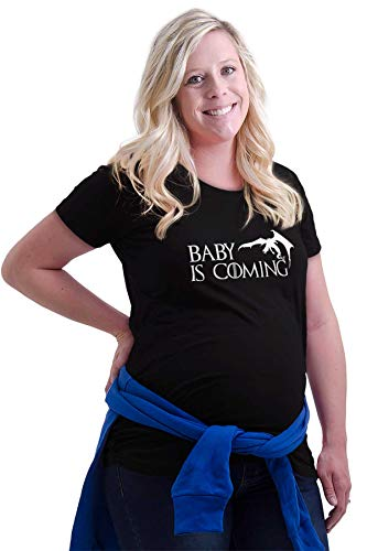 Baby is Coming Expecting Dragon Ladies Maternity T Shirt Black