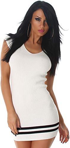 Jela London Feinstrick Stretchkleid Strickkleid Mini kurz Feinripp-Optik Streifen ohne Arm, Weiss