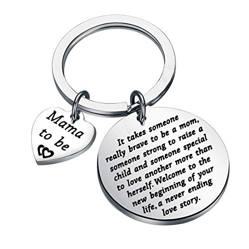 AKTAP Mama To Be Gift New Mom Keychain Pregnancy Announcement Gift It Takes Someone Really Brave To Be A Mom Mother Keychain Gift For First Mom (Fashion Mama To Be Charm Keychain)