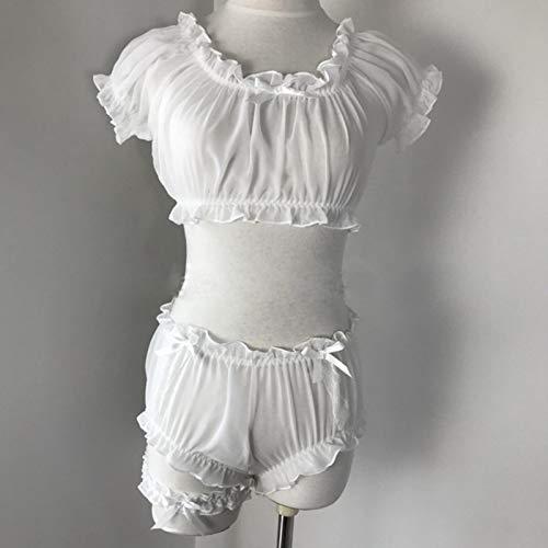 LuckyOne Conjunto de pijama sexy para mujer, diseño de estrellas, ultrafino, de gasa, con volantes, sin mangas, para hombros descubiertos, pantalones cortos, anillo de pierna, ropa interior