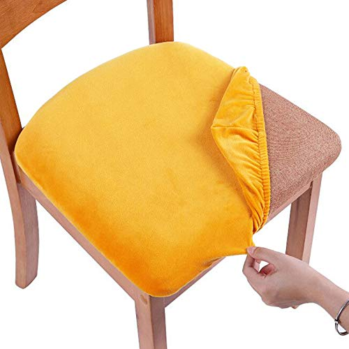 Smiry Original Velvet Dining Chair Seat Covers, Stretch Fitted Dining Room Upholstered Chair Seat Cushion Cover, Removable Washable Furniture Protector Slipcovers with Ties - Set of 6, Mustard Yellow