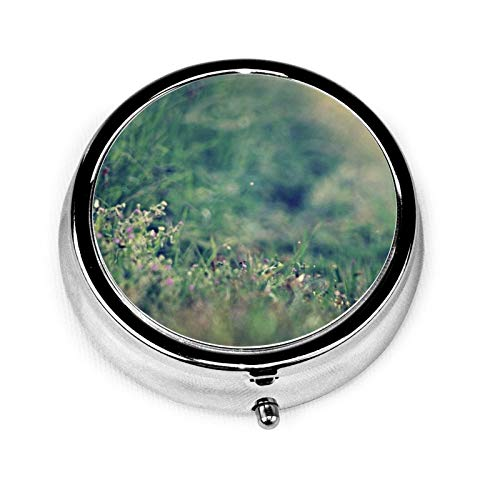 3 Compartment Pill Box Rabbit Grass Glare Distance Sunlight Luxury Travel Kit Storage Metal Round Silver Button Pill Dispenser Vitamins Fish Oil Supplements