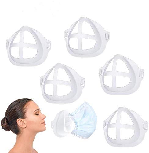 3D-Halterung für Komfortables Atmen, wiederverwendbar, waschbar, Innenstützrahmen, transparent, kühl, Sport, Schutz für Lippenstift, Schild für Mund und Nase, 5 Stück