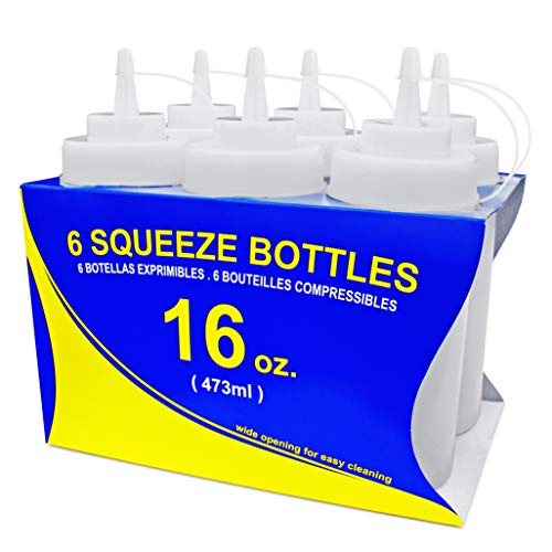 New Star Foodservice 26177 Squeeze Bottles, Plastic, Wide Mouth with Caps, 16 oz, Clear, Pack of 6