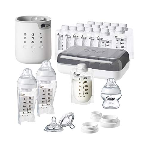 Tommee Tippee Pump And Go Complete Breast Milk Baby Bottle Feeding Starter Set, White