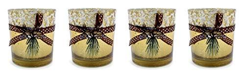 DARO DEKO Teelichthalter aus Glas Gold-braun mit Schnee und Tannen-Zapfen 4 Stück 7 x 8cm