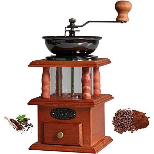 Bureau Moulin à café manuel Poignée à main rétro Moulin à café En fonte Acier à moudre Noyau en bois massif Moulin à café manuel Petit ménage Moulin à café Graines de noix