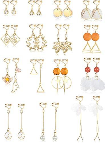 CASSIECA 15 Pairs Clip on Earrings for Women Girls Drop Earrings Fashion Long Tassel Earrings Statement Geometric Flower Star Pearl Dangle Clip Earrings Non Pierced Ears Lightweight Clip Earrings Set