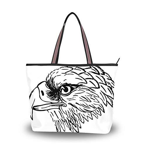 Handtasche für Damen Einkaufstasche Reisetasche Canvas Casual Tasche mit Polyester-Futter Sporttasche Polyester Tragbar Leicht Arbeit Büro Reise Schultertasche Adler Kopf