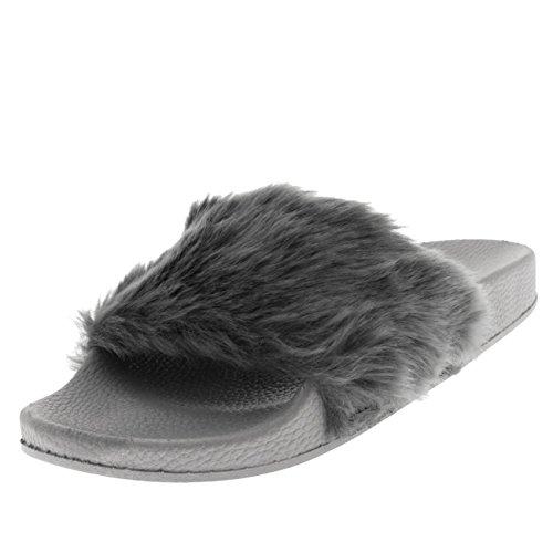 Damen Kunstpelz Einzelnes Band Offener Zeh Flaumig EVA Mode Sandalen - Grau - UK4/EU37 - PN0111