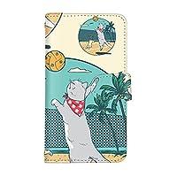 スマ通 iPhoneXSMax スマホケース iPhone XS Max カード収納 ミラー 付き 手帳型 Apple アップル アイフォン テンエスマックス (A.クリーム) 猫 ビーチ バレー 夏 スポーツ vd-0479