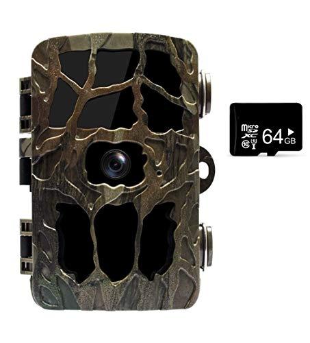 Aorula 2019 Upgraded Wildlife Camera Trail Camera 4K 20MP Night Vision Camera IP66 Waterproof Motion Sensor Camera IR LEDs and 2.4  LCD Display Hunting Camera with 64G SD Card